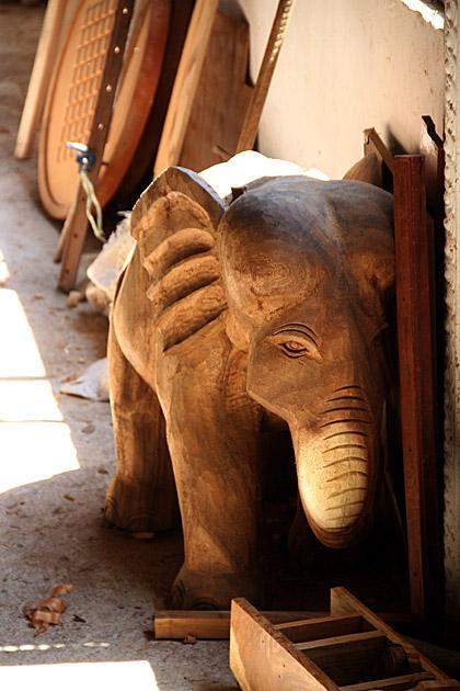 Colour: Orange Cute Sri Lankan Wooden Elephant